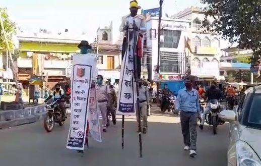 শব্দবাজি ফাটানো বন্ধের আবেদন জানিয়ে প: মেদিনীপুর জেলা পুলিশের নির্দেশে সচেতনতা যাত্রা